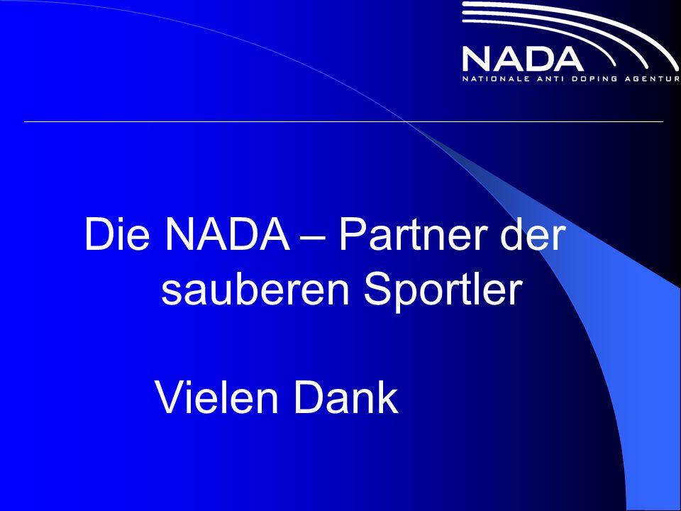 Die NADA – Partner der sauberen Sportler Vielen Dank