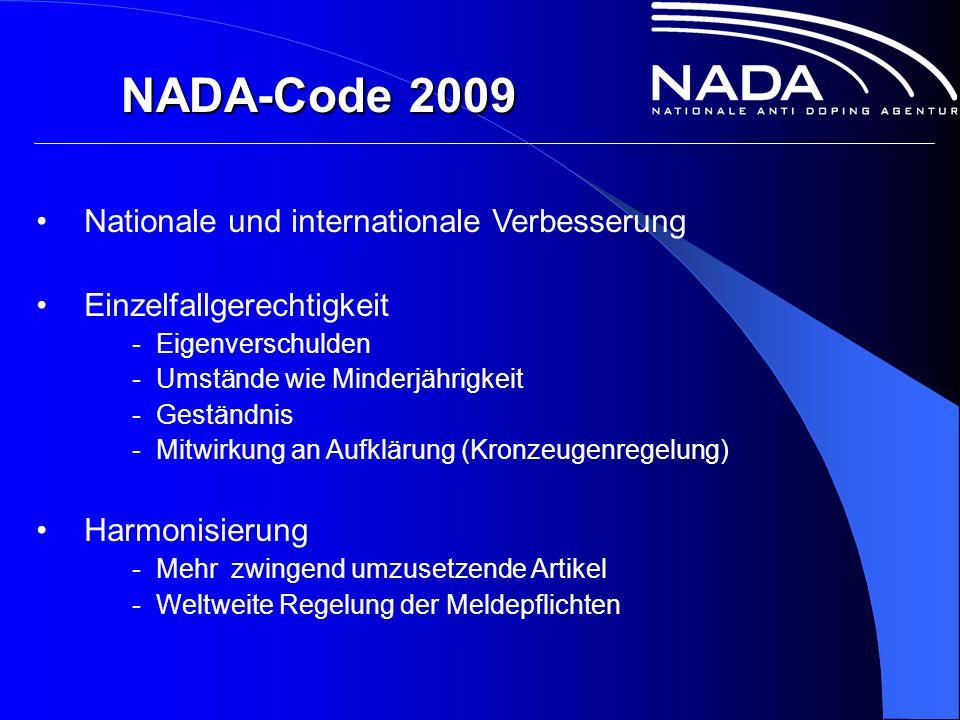 NADA-Code 2009 Nationale und internationale Verbesserung Einzelfallgerechtigkeit - Eigenverschulden - Umstände wie Minderjährigkeit - Geständnis - Mitwirkung an Aufklärung (Kronzeugenregelung) Harmonisierung - Mehr zwingend umzusetzende Artikel - Weltweite Regelung der Meldepflichten