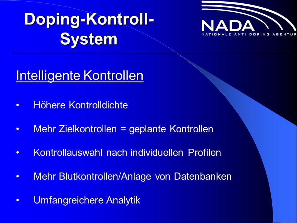 Doping-Kontroll- System Intelligente Kontrollen Höhere Kontrolldichte Mehr Zielkontrollen = geplante Kontrollen Kontrollauswahl nach individuellen Profilen Mehr Blutkontrollen/Anlage von Datenbanken Umfangreichere Analytik