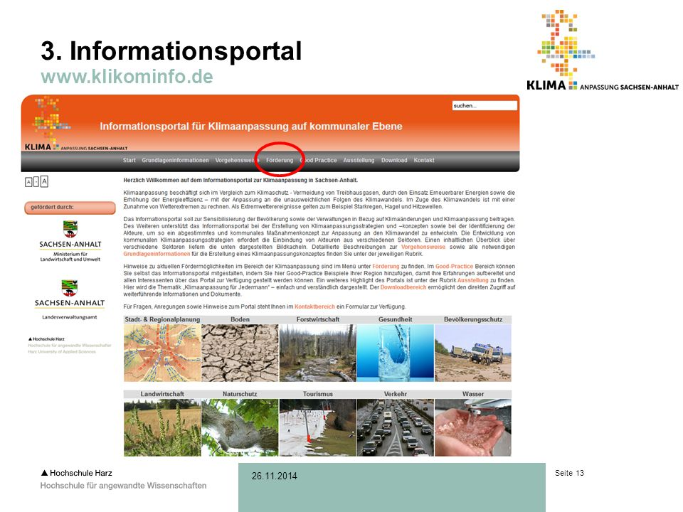 Seite 13 26.11.2014 3. Informationsportal www.klikominfo.de