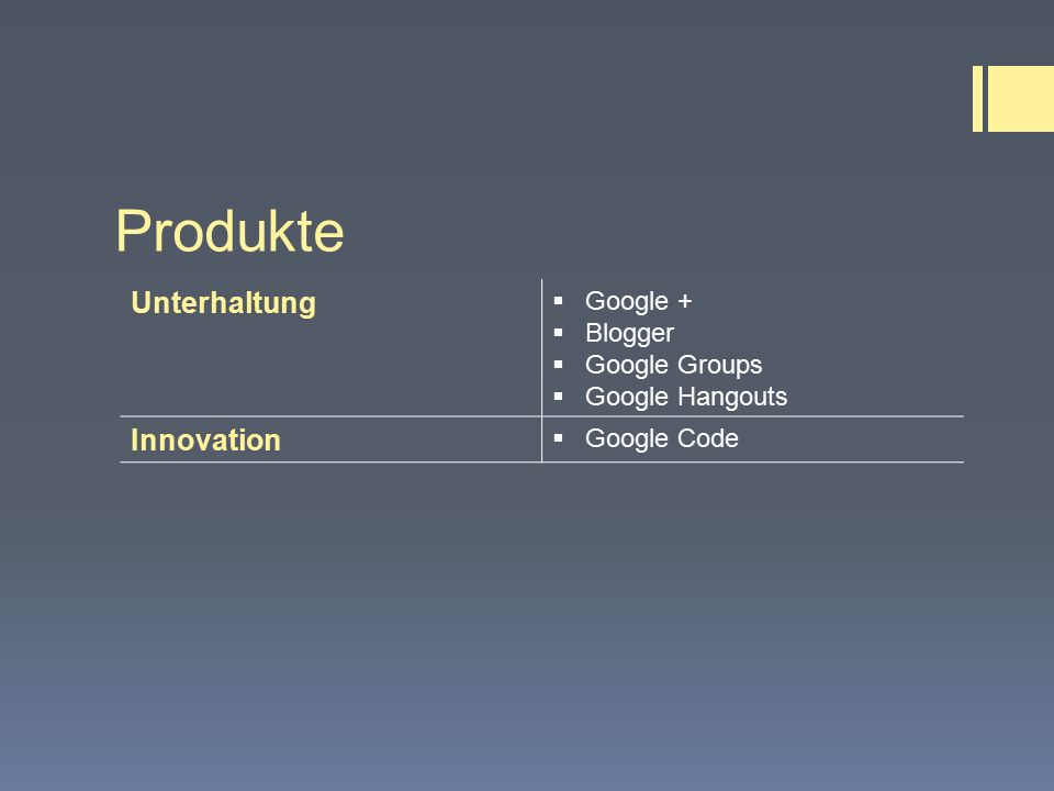 Produkte Unterhaltung  Google +  Blogger  Google Groups  Google Hangouts Innovation  Google Code