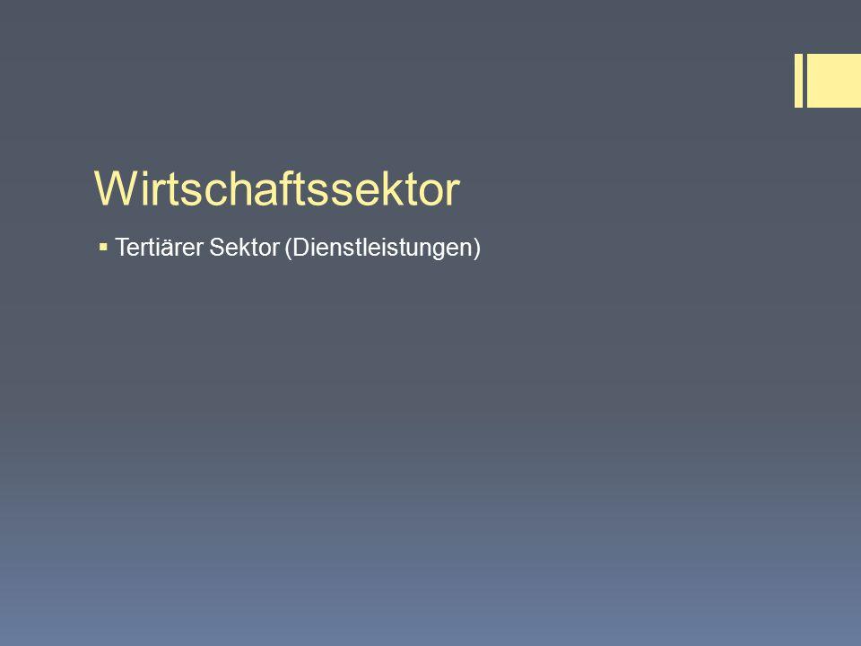Wirtschaftssektor  Tertiärer Sektor (Dienstleistungen)