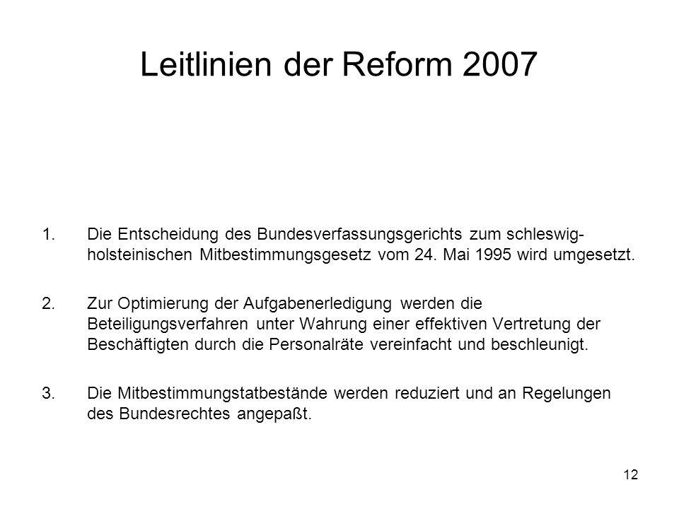 12 Leitlinien der Reform 2007 1.Die Entscheidung des Bundesverfassungsgerichts zum schleswig- holsteinischen Mitbestimmungsgesetz vom 24.