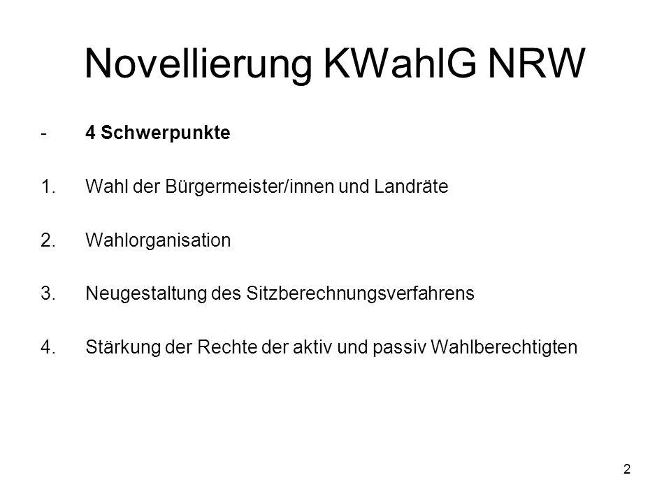 2 Novellierung KWahlG NRW -4 Schwerpunkte 1.Wahl der Bürgermeister/innen und Landräte 2.Wahlorganisation 3.Neugestaltung des Sitzberechnungsverfahrens 4.Stärkung der Rechte der aktiv und passiv Wahlberechtigten