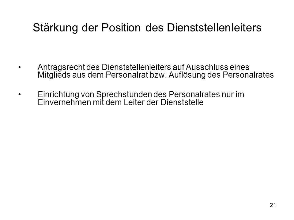 21 Stärkung der Position des Dienststellenleiters Antragsrecht des Dienststellenleiters auf Ausschluss eines Mitglieds aus dem Personalrat bzw.