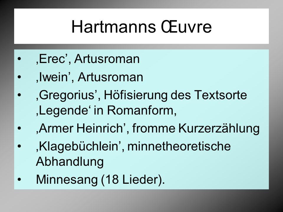 Hartmanns Œuvre 'Erec', Artusroman 'Iwein', Artusroman 'Gregorius', Höfisierung des Textsorte 'Legende' in Romanform, 'Armer Heinrich', fromme Kurzerzählung 'Klagebüchlein', minnetheoretische Abhandlung Minnesang (18 Lieder).