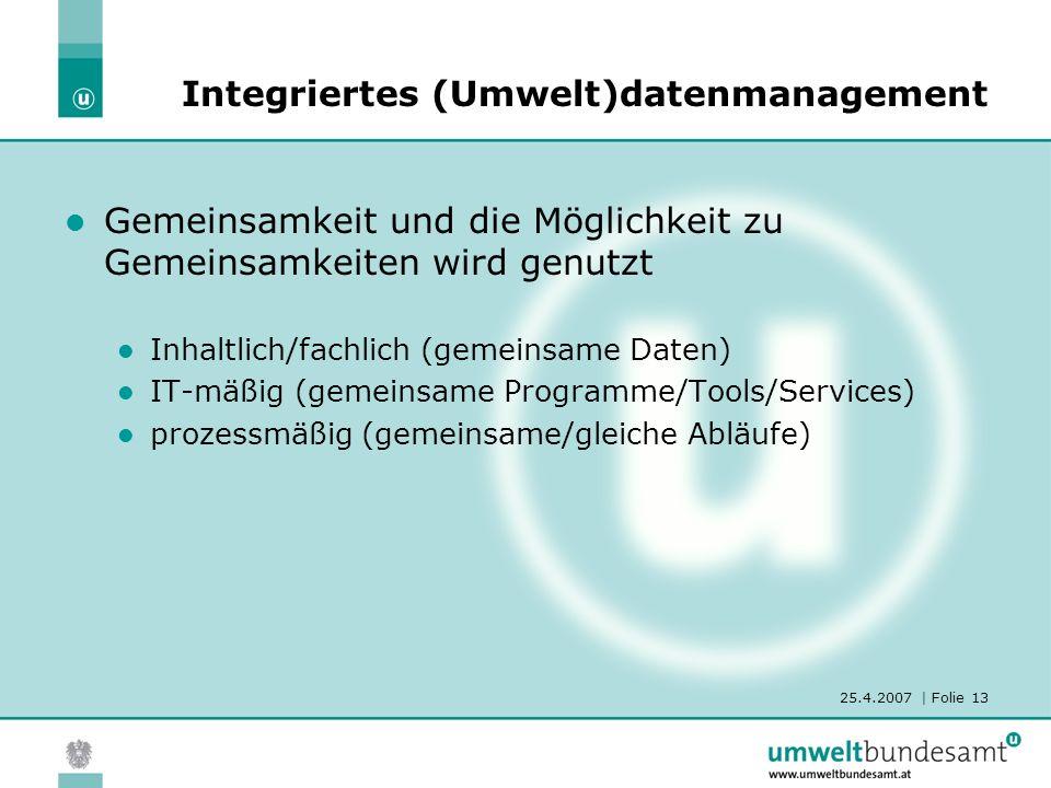 25.4.2007 | Folie 13 Integriertes (Umwelt)datenmanagement Gemeinsamkeit und die Möglichkeit zu Gemeinsamkeiten wird genutzt Inhaltlich/fachlich (gemeinsame Daten) IT-mäßig (gemeinsame Programme/Tools/Services) prozessmäßig (gemeinsame/gleiche Abläufe)