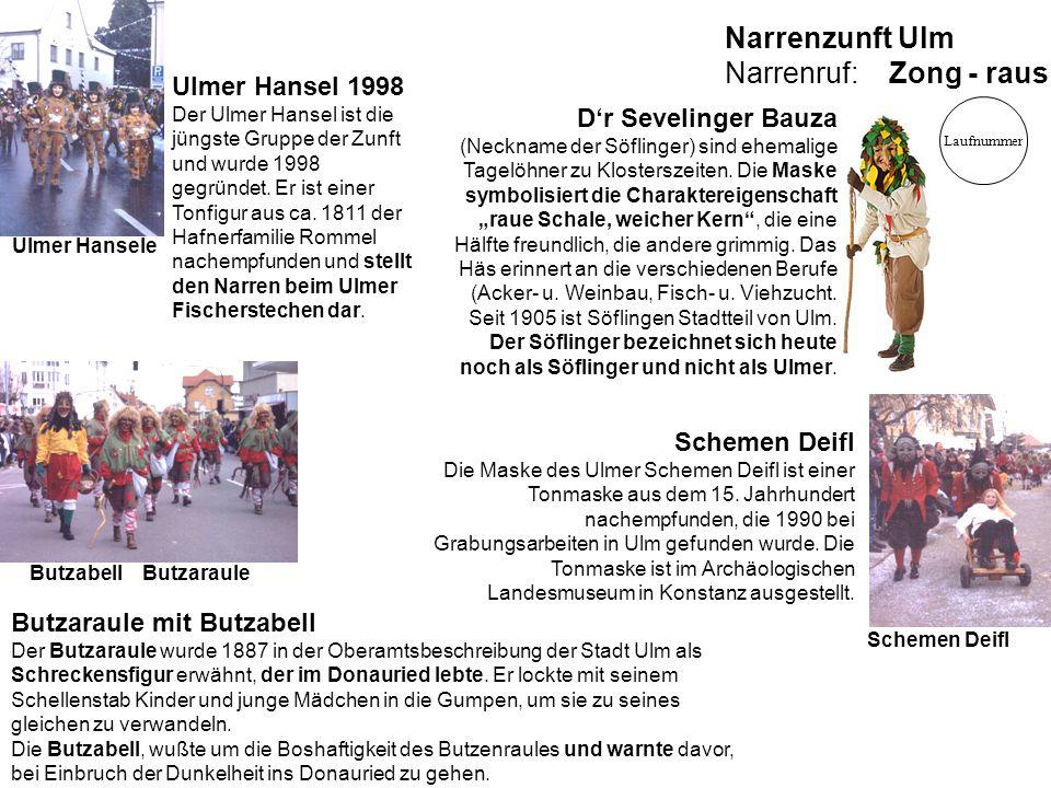 Ulmer Hansel 1998 Der Ulmer Hansel ist die jüngste Gruppe der Zunft und wurde 1998 gegründet. Er ist einer Tonfigur aus ca. 1811 der Hafnerfamilie Rom