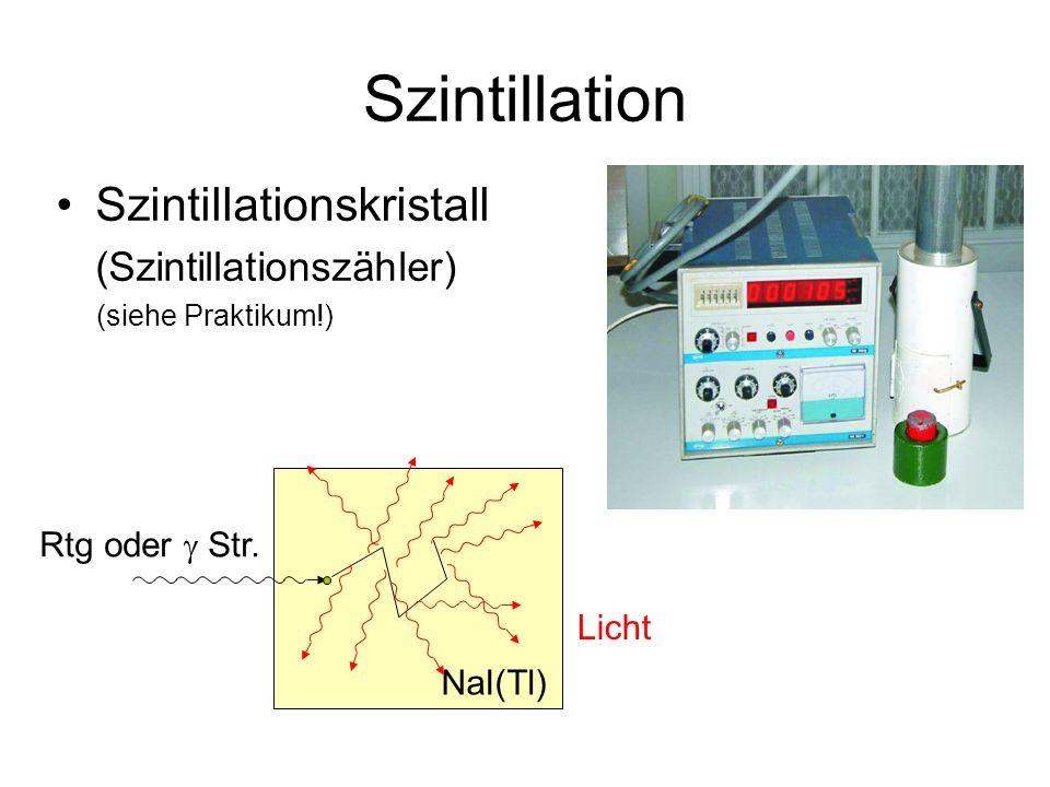 Szintillation Szintillationskristall (Szintillationszähler) (siehe Praktikum!) NaI(Tl) Rtg oder  Str.