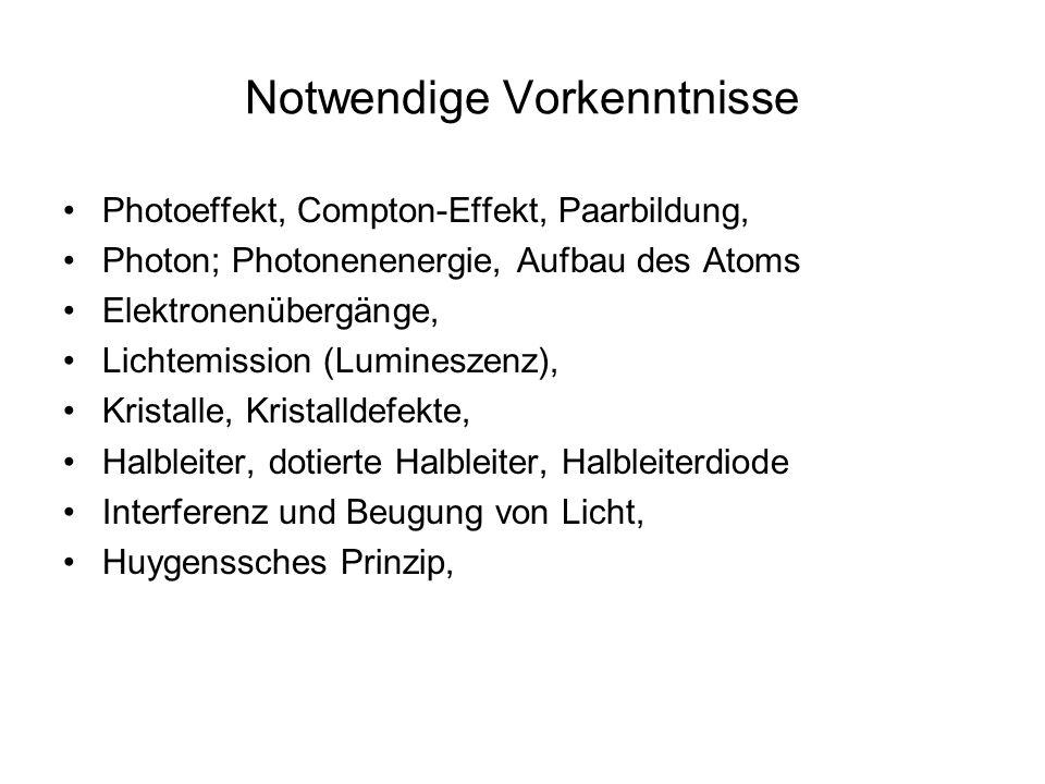 Notwendige Vorkenntnisse Photoeffekt, Compton-Effekt, Paarbildung, Photon; Photonenenergie, Aufbau des Atoms Elektronenübergänge, Lichtemission (Lumineszenz), Kristalle, Kristalldefekte, Halbleiter, dotierte Halbleiter, Halbleiterdiode Interferenz und Beugung von Licht, Huygenssches Prinzip,