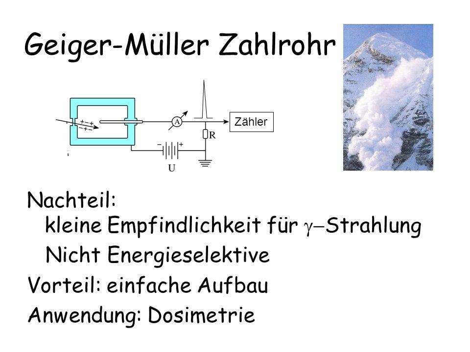 Geiger-Müller Zahlrohr Nachteil: kleine Empfindlichkeit für  Strahlung Nicht Energieselektive Vorteil: einfache Aufbau Anwendung: Dosimetrie Zähler