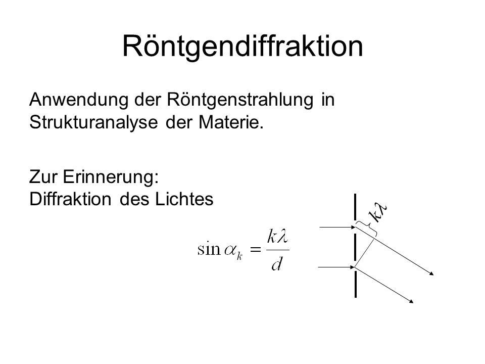 Röntgendiffraktion Anwendung der Röntgenstrahlung in Strukturanalyse der Materie.
