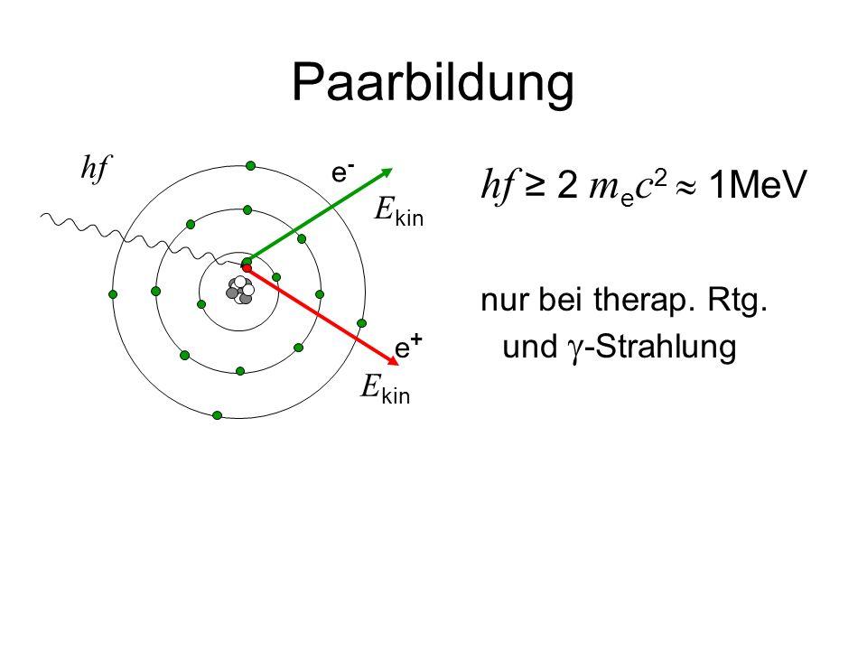 Paarbildung hf ≥ 2 m e c 2  1MeV nur bei therap. Rtg. und  -Strahlung hf E kin e-e- e+e+