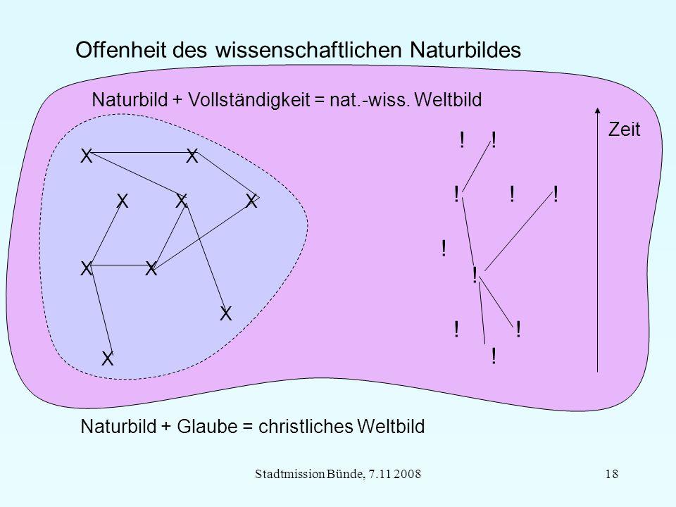 Stadtmission Bünde, 7.11 200818 Offenheit des wissenschaftlichen Naturbildes X X X X X Naturbild + Glaube = christliches Weltbild Naturbild + Vollständigkeit = nat.-wiss.