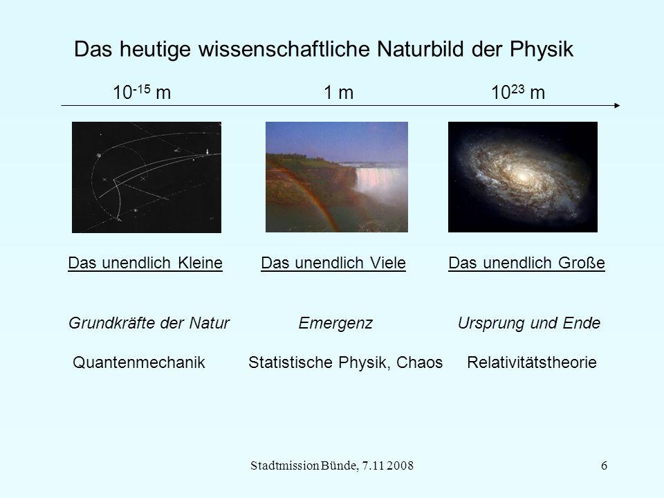 Stadtmission Bünde, 7.11 200817 Physik und Metaphysik: Wo ist wissenschaftliche Naturbild offen für Glauben.