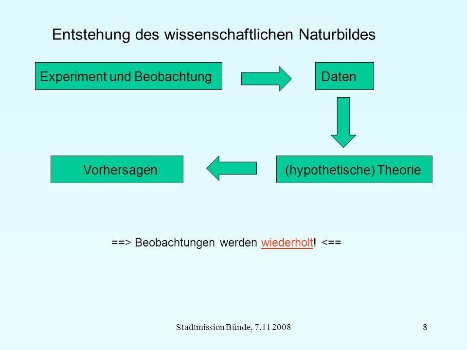 Stadtmission Bünde, 7.11 20088 Entstehung des wissenschaftlichen Naturbildes Experiment und Beobachtung Daten Vorhersagen (hypothetische) Theorie ==> Beobachtungen werden wiederholt.
