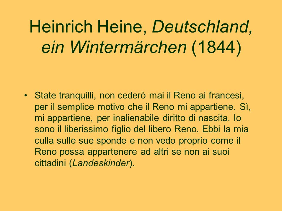 L'incontro col Padre Reno Zu Cöllen kam ich spät Abends an Da hörte ich rauschen den Rheinfluß Da fächelte mich schon deutsche Luft Da fühlt ich ihren Einfluß - […] Und als ich an die Rheinbrück kam, Wohl an die Hafenschanze Da sah ich fließen den Vater Rhein Im stillen Mondenglanz.