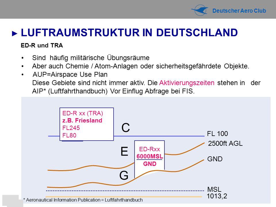 Deutscher Aero Club ED-R und TRA G Sind häufig militärische Übungsräume Aber auch Chemie / Atom-Anlagen oder sicherheitsgefährdete Objekte.