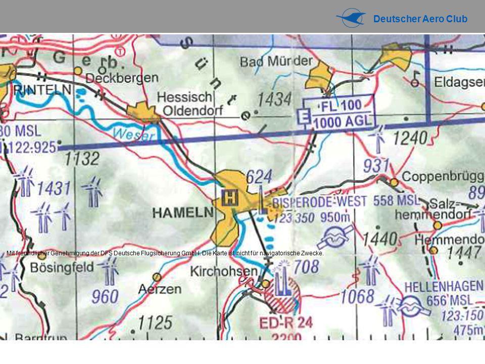 Deutscher Aero Club LUFTRAUMSTRUKTUR IN DEUTSCHLAND G E C 1013,2 hPa MSL FL 100 2500ft AGL GND Ist kontrolliert Freigabe ist erforderlich Sowohl VFR als auch IFR-Verkehr, IFR wird von VFR gestaffelt »über FL 100 Flugsicht 8km, Wolkenabstand: 1,5 km horiz., 300m (1000ft) vertikal »Unter FL 100 Flugsicht 5km, Wolkenabstand wie über FL100