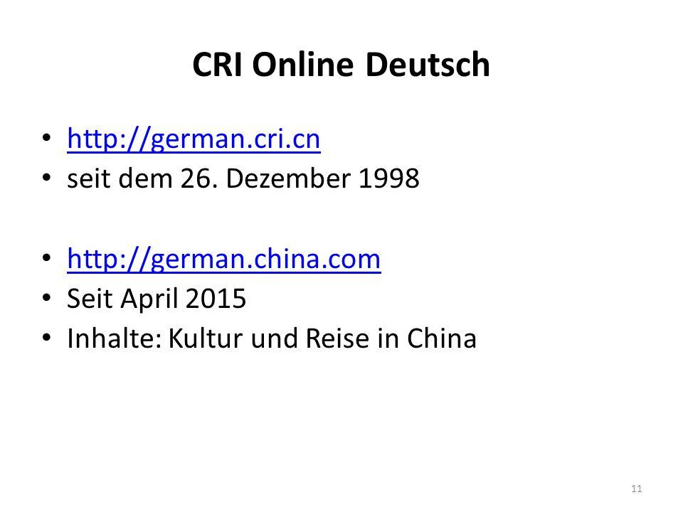CRI Online Deutsch http://german.cri.cn seit dem 26.