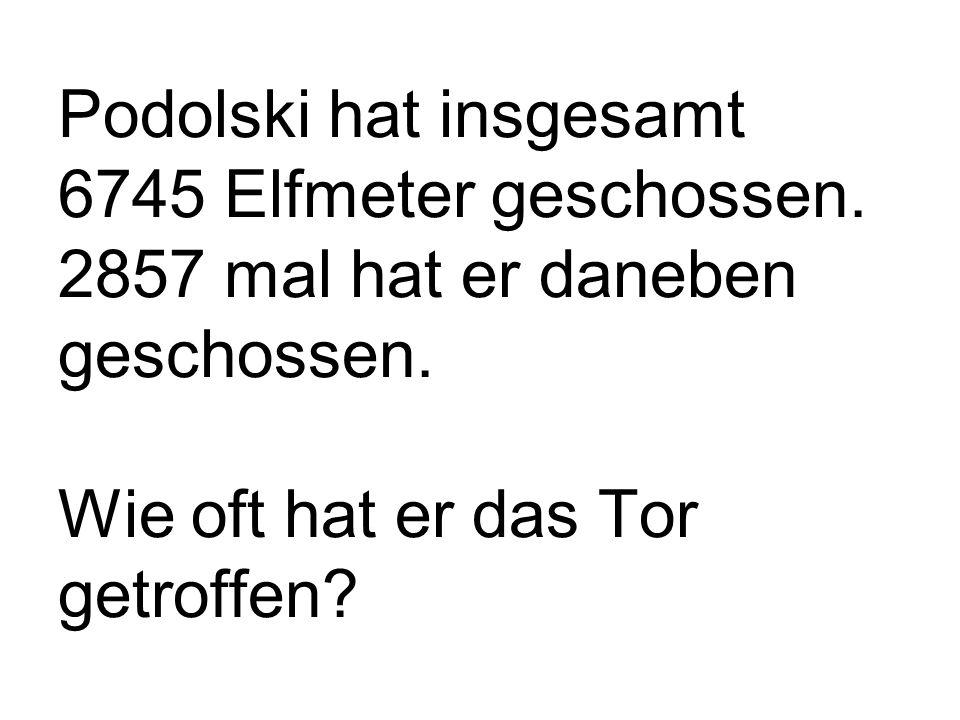 Podolski hat insgesamt 6745 Elfmeter geschossen. 2857 mal hat er daneben geschossen.