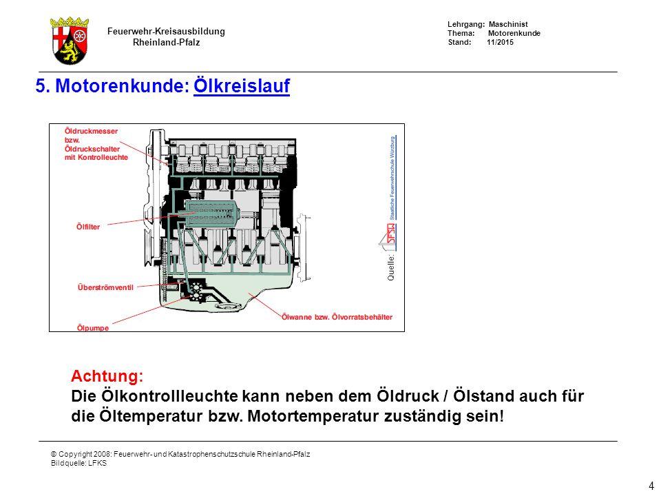 Lehrgang: Maschinist Thema: Motorenkunde Stand: 11/2015 Feuerwehr-Kreisausbildung Rheinland-Pfalz © Copyright 2008: Feuerwehr- und Katastrophenschutzschule Rheinland-Pfalz Bildquelle: LFKS 5.