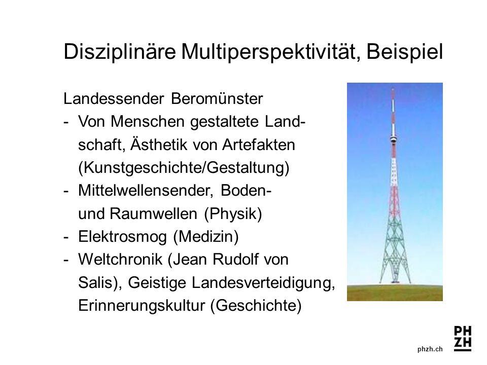 phzh.ch Disziplinäre Multiperspektivität, Beispiel Landessender Beromünster -Von Menschen gestaltete Land- schaft, Ästhetik von Artefakten (Kunstgesch