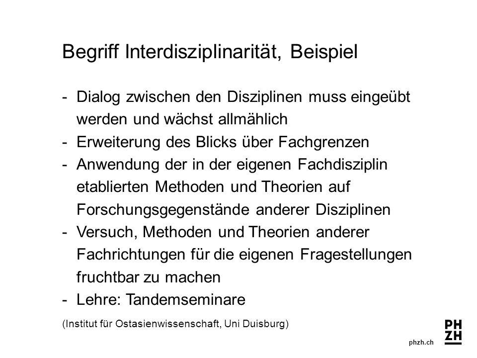 phzh.ch Begriff Interdisziplinarität, Beispiel -Dialog zwischen den Disziplinen muss eingeübt werden und wächst allmählich -Erweiterung des Blicks übe