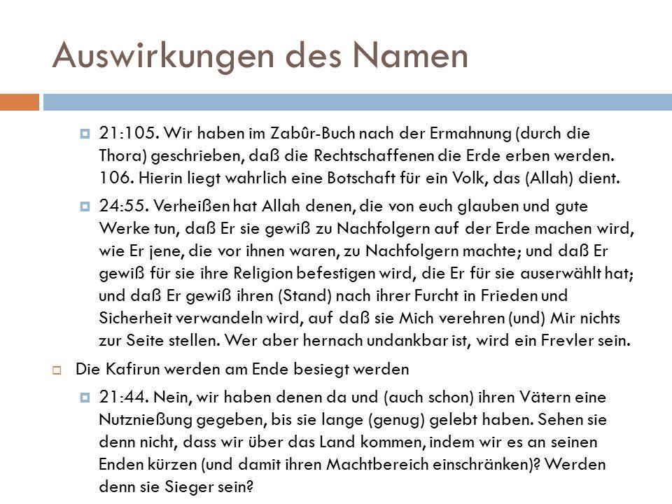 Auswirkungen des Namen  21:105.
