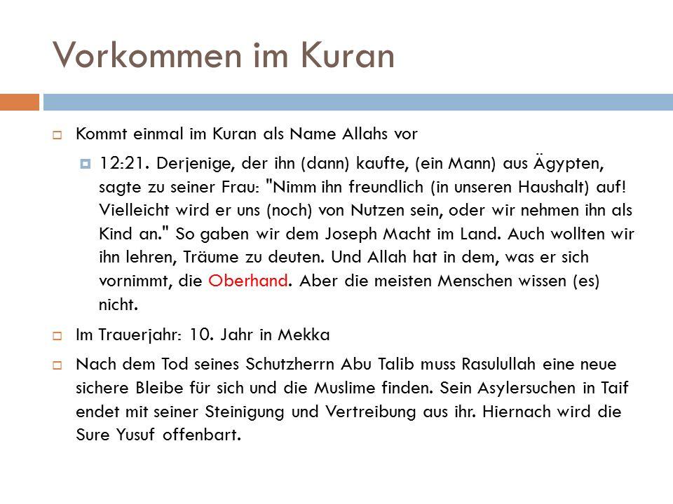 Vorkommen im Kuran  Kommt einmal im Kuran als Name Allahs vor  12:21.