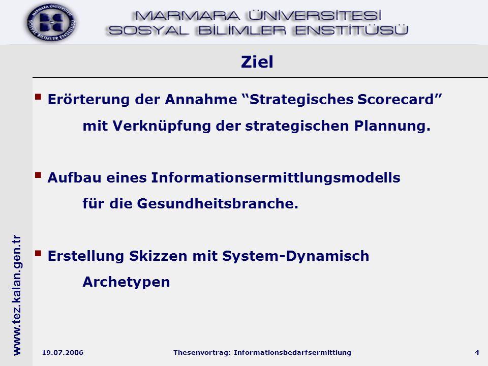 www.tez.kalan.gen.tr 19.07.2006Thesenvortrag: Informationsbedarfsermittlung4 Ziel  Erörterung der Annahme Strategisches Scorecard mit Verknüpfung der strategischen Plannung.
