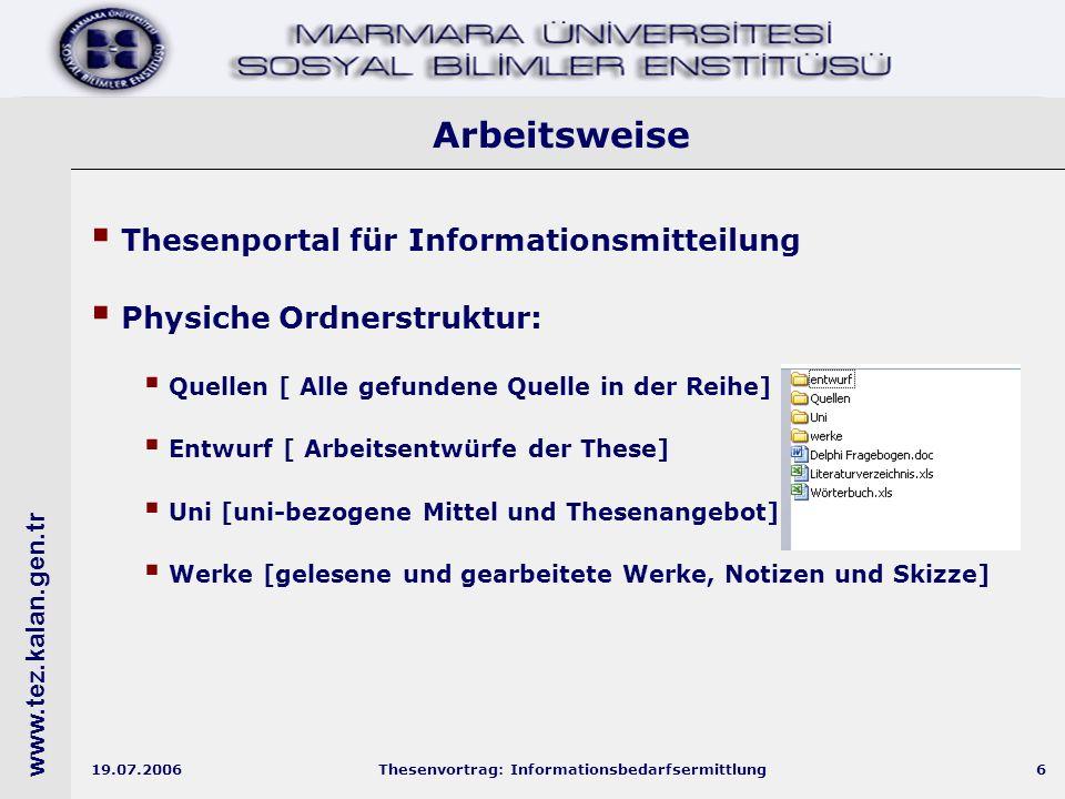 www.tez.kalan.gen.tr 19.07.2006Thesenvortrag: Informationsbedarfsermittlung7 Thesenportal