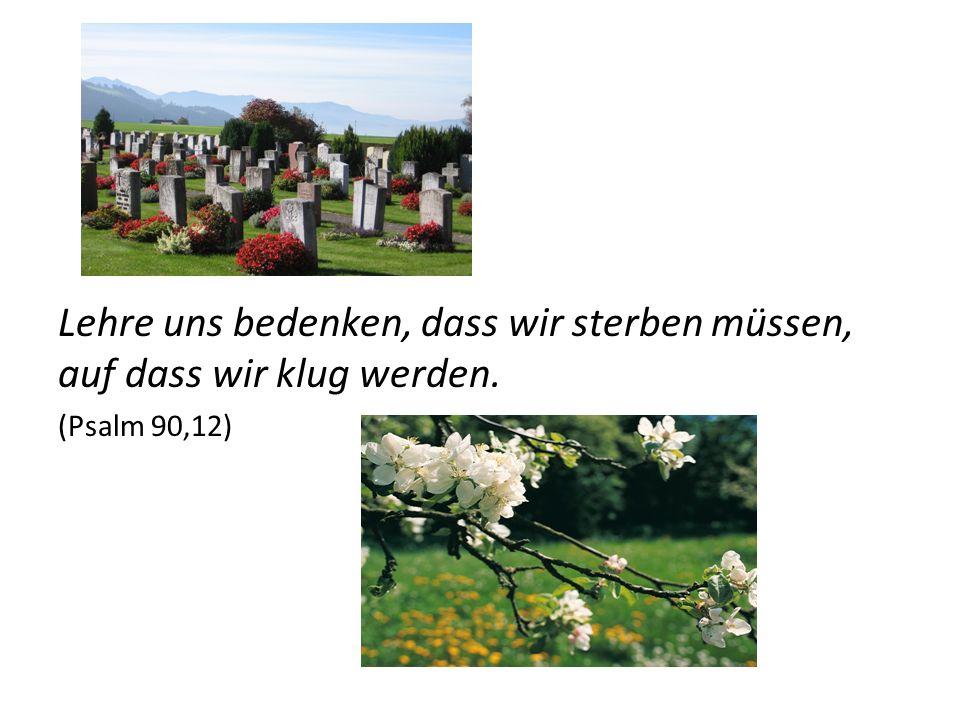 Lehre uns bedenken, dass wir sterben müssen, auf dass wir klug werden. (Psalm 90,12)
