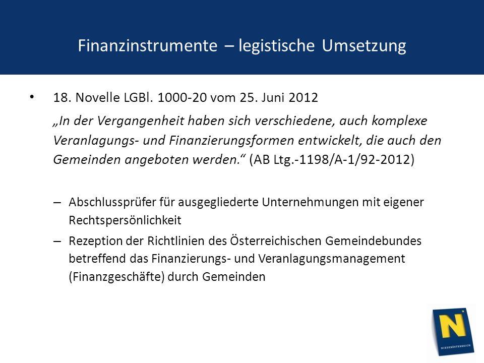 Finanzinstrumente – legistische Umsetzung 18. Novelle LGBl.
