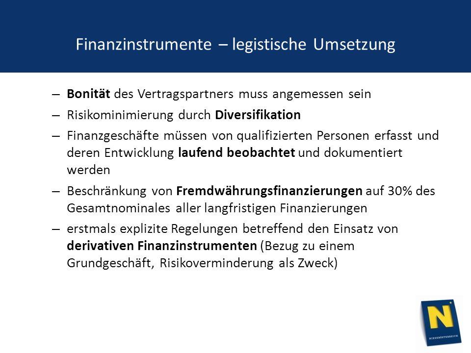 Finanzinstrumente – legistische Umsetzung – Bonität des Vertragspartners muss angemessen sein – Risikominimierung durch Diversifikation – Finanzgeschäfte müssen von qualifizierten Personen erfasst und deren Entwicklung laufend beobachtet und dokumentiert werden – Beschränkung von Fremdwährungsfinanzierungen auf 30% des Gesamtnominales aller langfristigen Finanzierungen – erstmals explizite Regelungen betreffend den Einsatz von derivativen Finanzinstrumenten (Bezug zu einem Grundgeschäft, Risikoverminderung als Zweck)