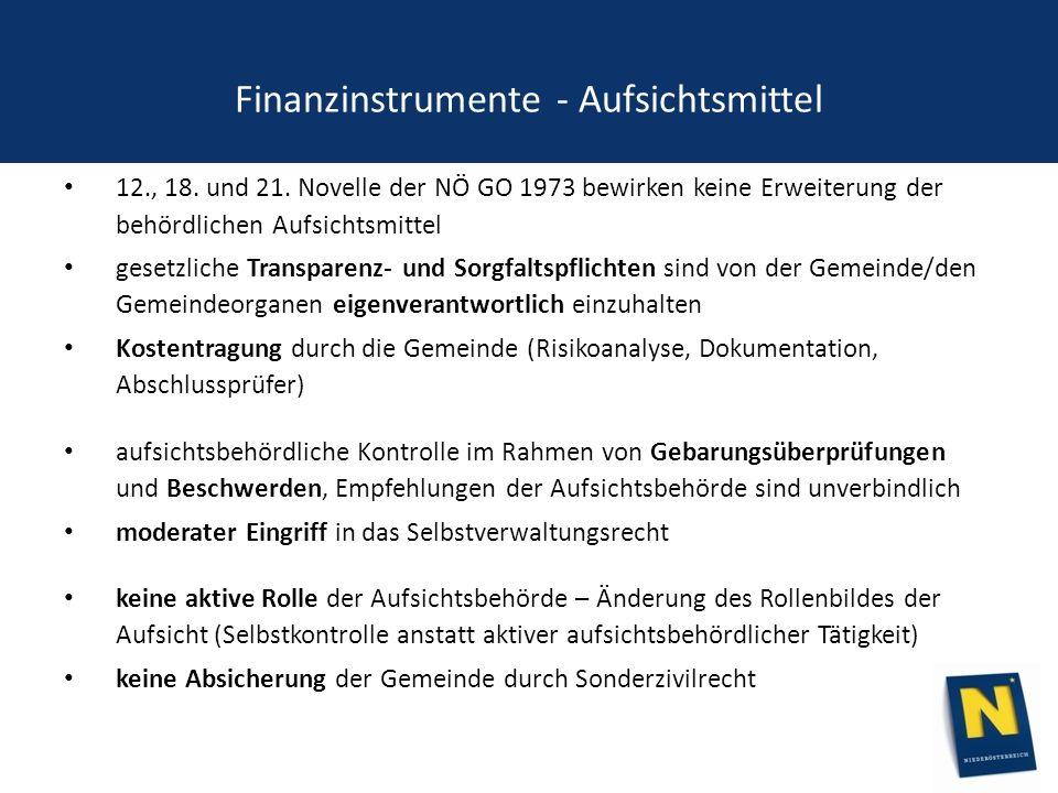 Finanzinstrumente - Aufsichtsmittel 12., 18. und 21.