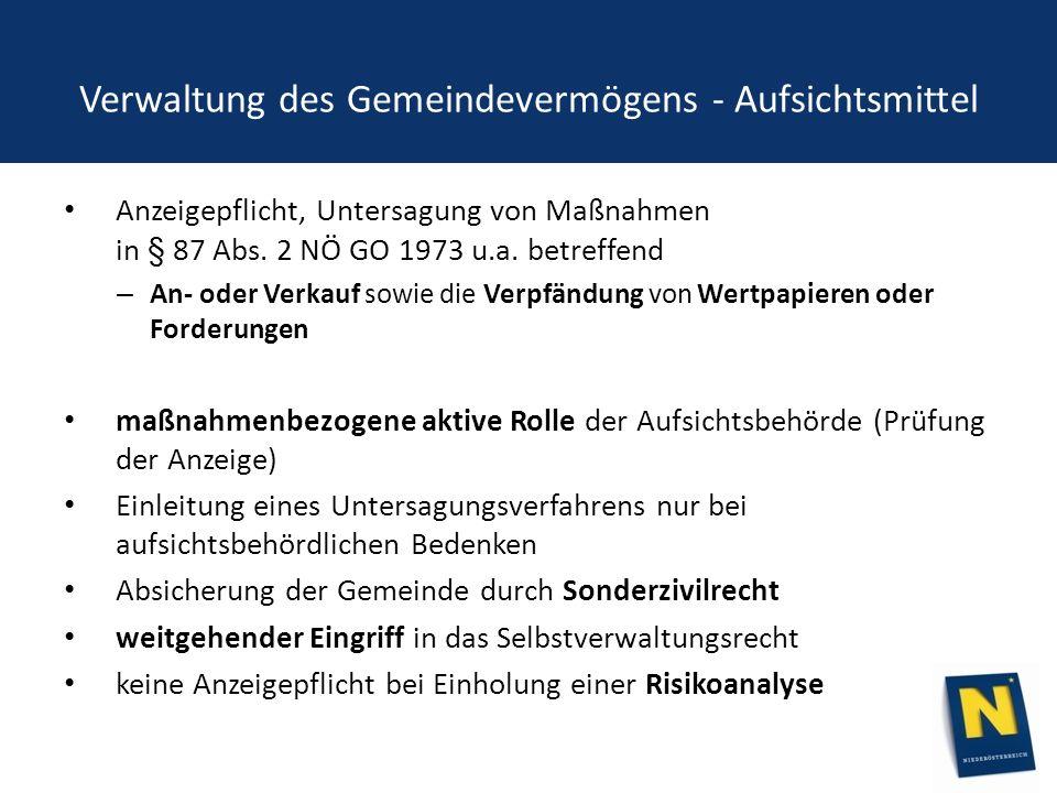 Verwaltung des Gemeindevermögens - Aufsichtsmittel Anzeigepflicht, Untersagung von Maßnahmen in § 87 Abs.