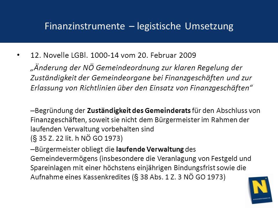 Finanzinstrumente – legistische Umsetzung 12. Novelle LGBl.
