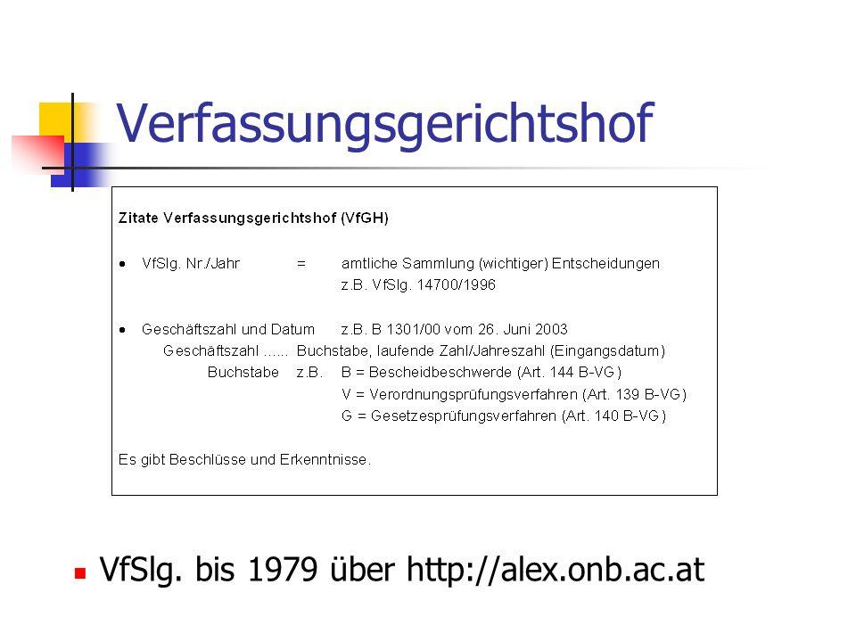 Verfassungsgerichtshof VfSlg. bis 1979 über http://alex.onb.ac.at