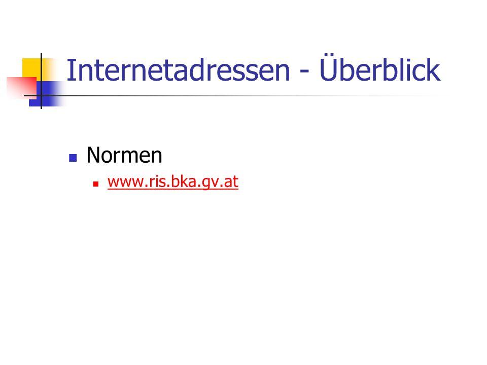 Internetadressen - Überblick Normen www.ris.bka.gv.at