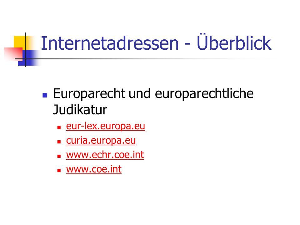 Internetadressen - Überblick Europarecht und europarechtliche Judikatur eur-lex.europa.eu curia.europa.eu www.echr.coe.int www.coe.int