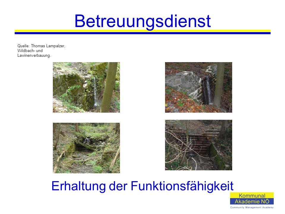 Erhaltung der Funktionsfähigkeit Quelle: Thomas Lampalzer, Wildbach- und Lawinenverbauung.