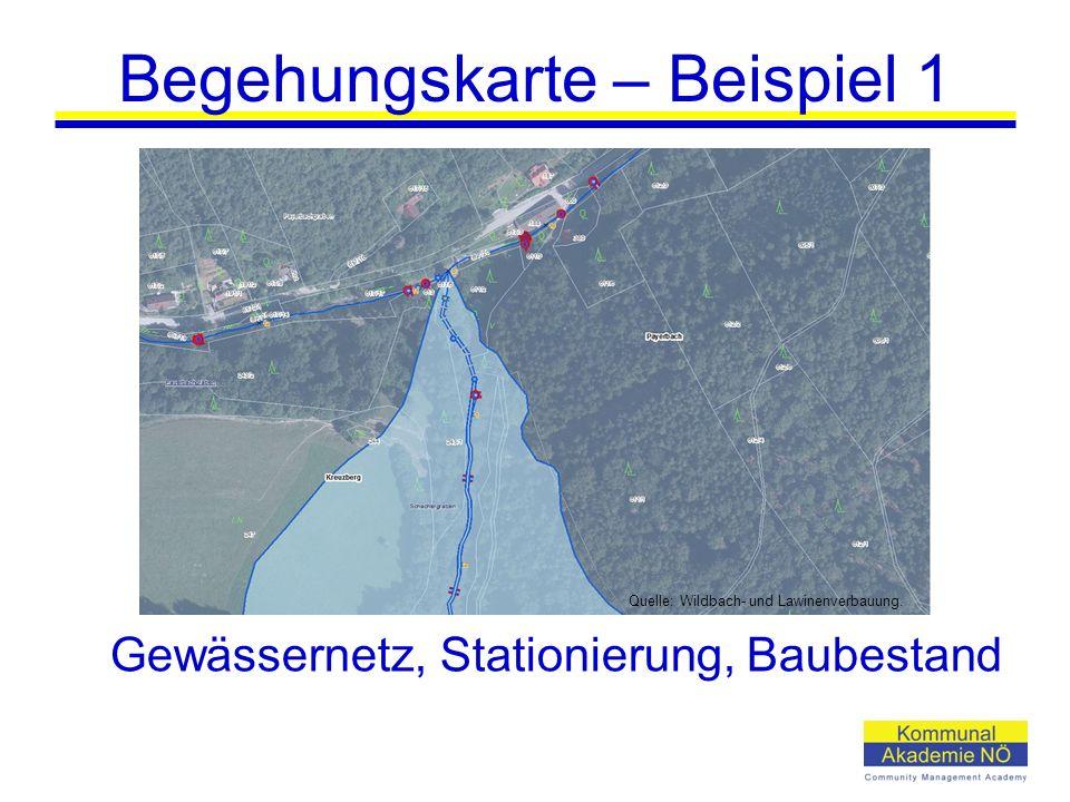 Begehungskarte – Beispiel 1 Gewässernetz, Stationierung, Baubestand Quelle: Wildbach- und Lawinenverbauung.