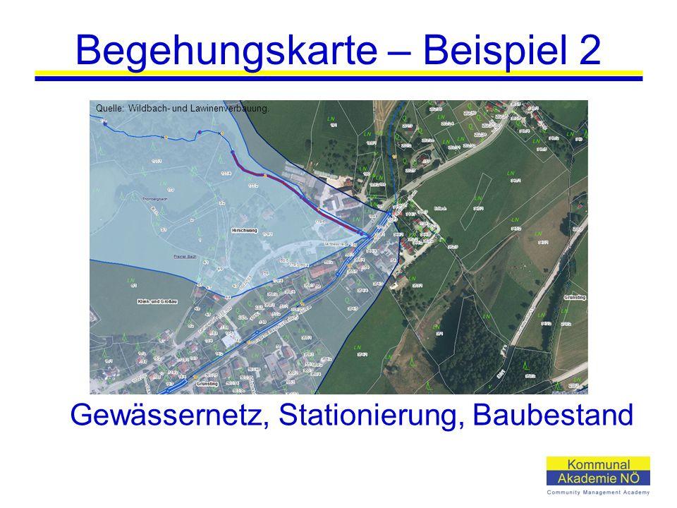 Begehungskarte – Beispiel 2 Gewässernetz, Stationierung, Baubestand Quelle: Wildbach- und Lawinenverbauung.