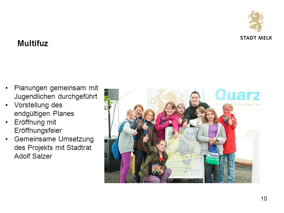 10 Multifuz Planungen gemeinsam mit Jugendlichen durchgeführt Vorstellung des endgültigen Planes Eröffnung mit Eröffnungsfeier Gemeinsame Umsetzung des Projekts mit Stadtrat Adolf Salzer