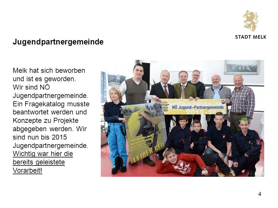 4 Jugendpartnergemeinde Melk hat sich beworben und ist es geworden.