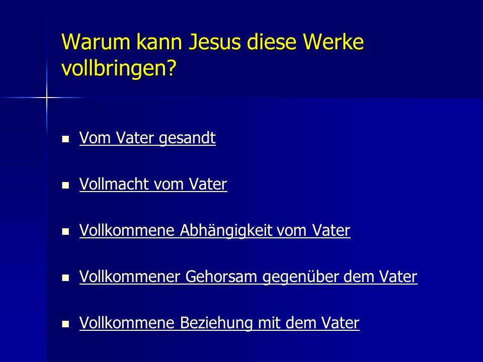 Warum kann Jesus diese Werke vollbringen? Vom Vater gesandt Vollmacht vom Vater Vollkommene Abhängigkeit vom Vater Vollkommener Gehorsam gegenüber dem
