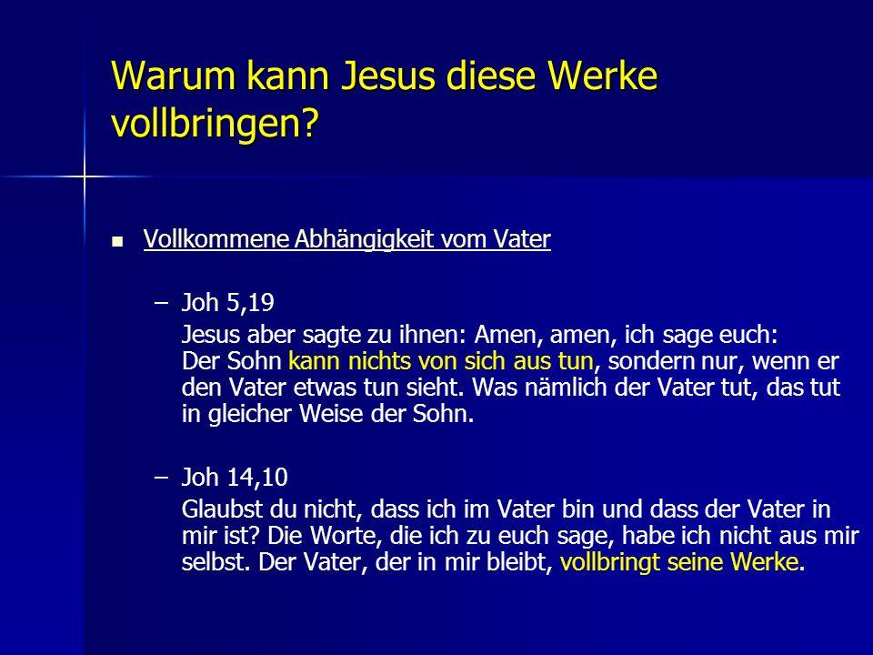Warum kann Jesus diese Werke vollbringen? Vollkommene Abhängigkeit vom Vater – –Joh 5,19 Jesus aber sagte zu ihnen: Amen, amen, ich sage euch: Der Soh
