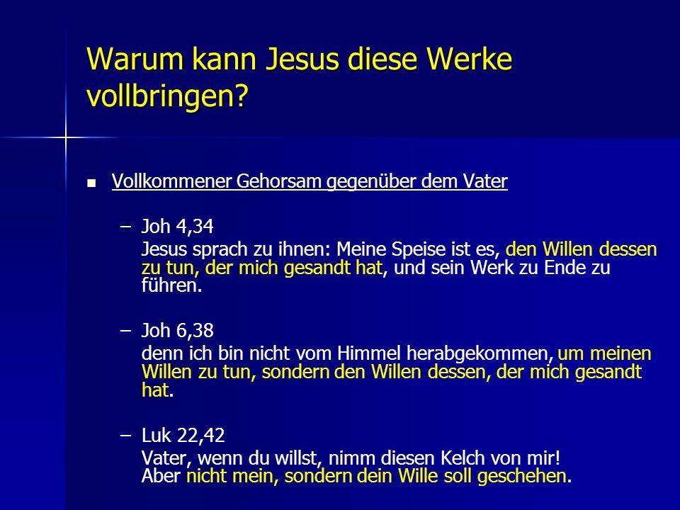 Warum kann Jesus diese Werke vollbringen? Vollkommener Gehorsam gegenüber dem Vater – –Joh 4,34 Jesus sprach zu ihnen: Meine Speise ist es, den Willen