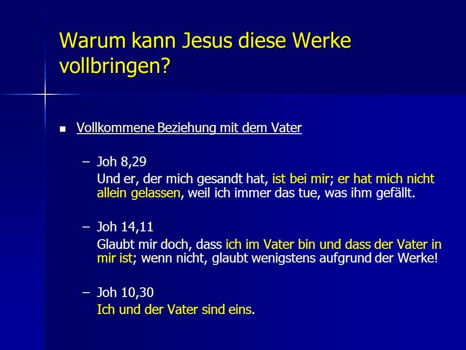 Warum kann Jesus diese Werke vollbringen? Vollkommene Beziehung mit dem Vater – –Joh 8,29 Und er, der mich gesandt hat, ist bei mir; er hat mich nicht